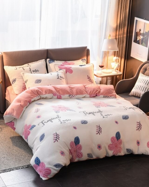 soft fluffy duvet cover with pillow cases
